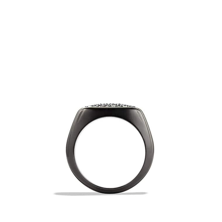Royal Cord Signet Ring with Black Diamonds and Black Titanium