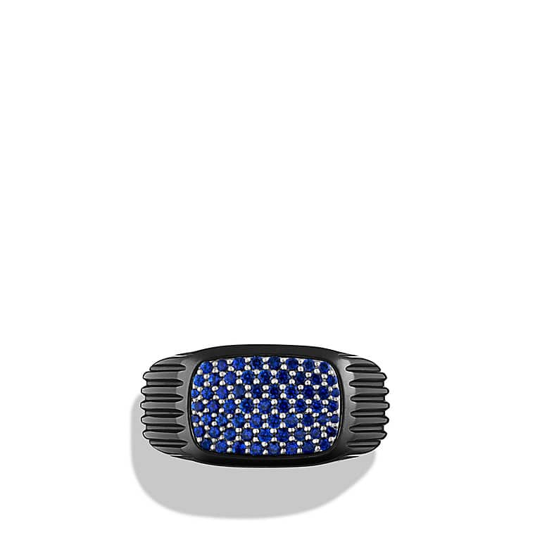 Royal Cord Signet Ring with Sapphires and Black Titanium