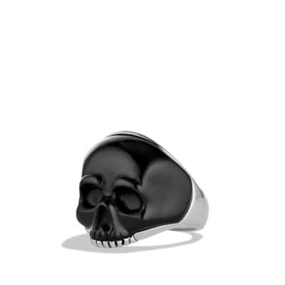 Skull Ring with Carved Black Onyx