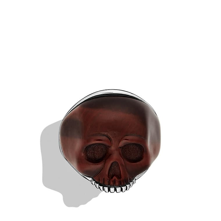 Skull Ring with Carved Red Tiger's Eye