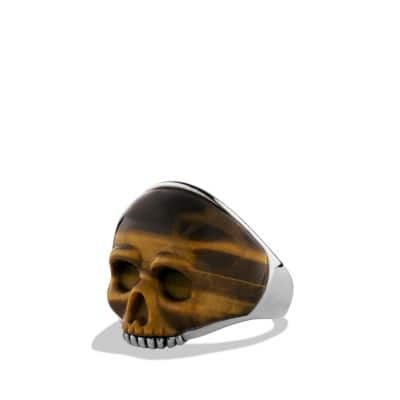 Carved Skull Ring with Tiger's Eye