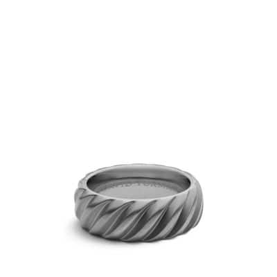Modern Cable Wide Band Ring with Gray Titanium