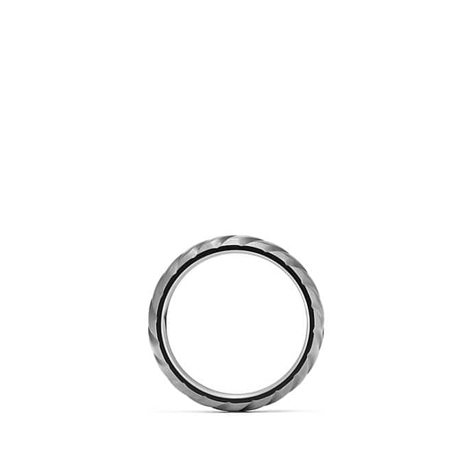 Modern Cable Narrow Band Ring with Gray Titanium