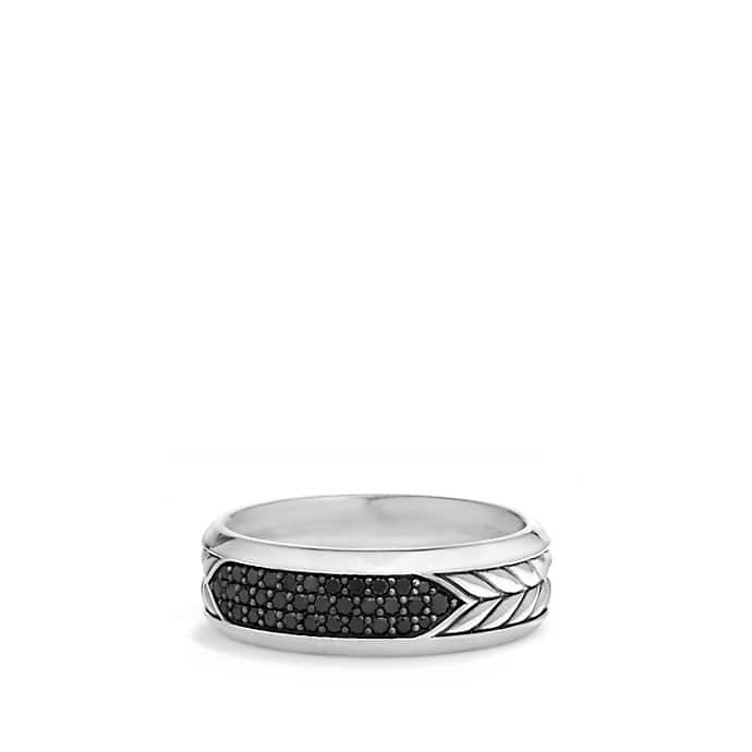 Chevron Pavé Band Ring with Black Diamonds
