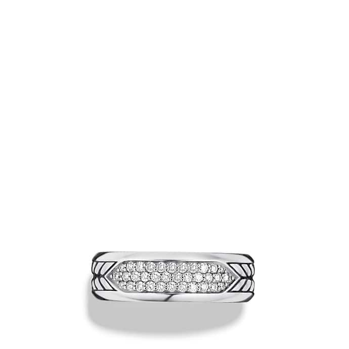 Chevron Pavé Band Ring with Diamonds