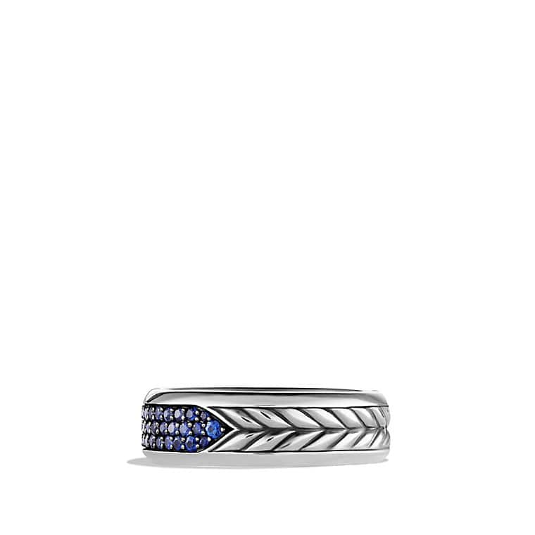 Chevron Pavé Band Ring with Sapphires