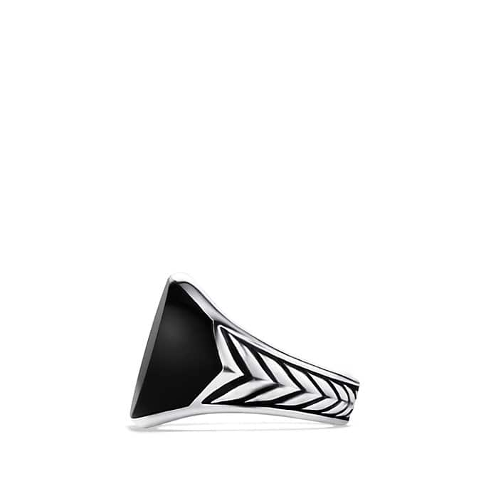 Chevron Signet Ring with Black Onyx