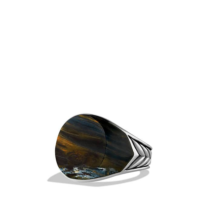 Chevron Signet Ring with Pietersite