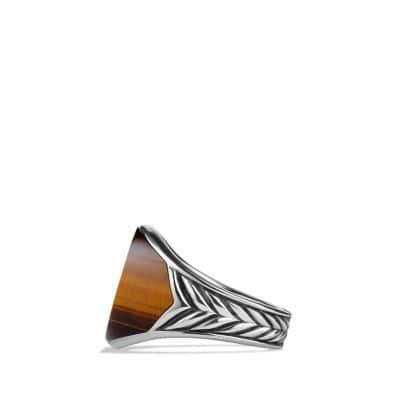 Chevron Signet Ring with Tiger's Eye