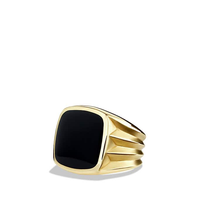 Knife-Edge Signet Ring with Black Onyx in Gold