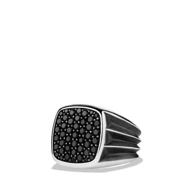 Knife-Edge Signet Ring with Black Diamonds
