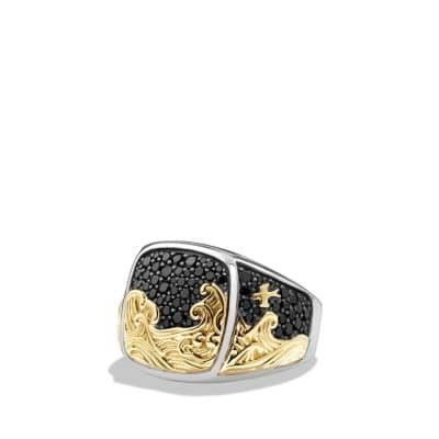 Waves Signet Ring with Black Diamonds and 18K Gold