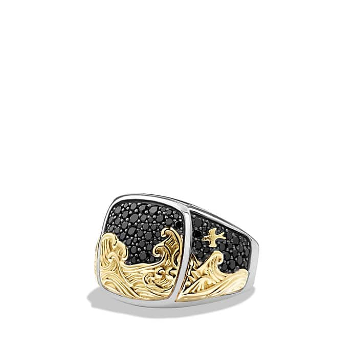 Signet Ring with 18K Gold and Black Diamonds