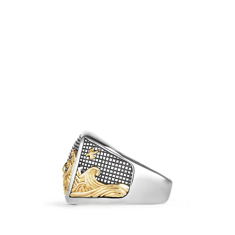 Waves Signet Ring with Gold