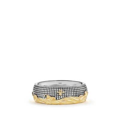 Waves Band Ring with Gold