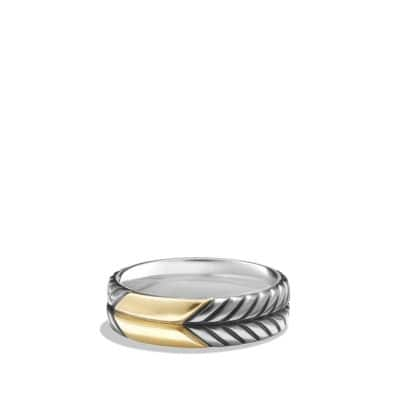 Modern Chevron Band Ring with 18K Gold, 7mm