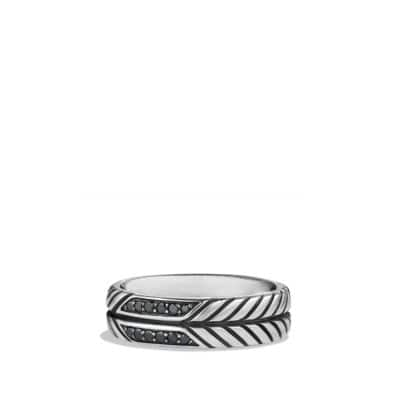 Modern Chevron Band Ring with Black Diamonds, 7mm