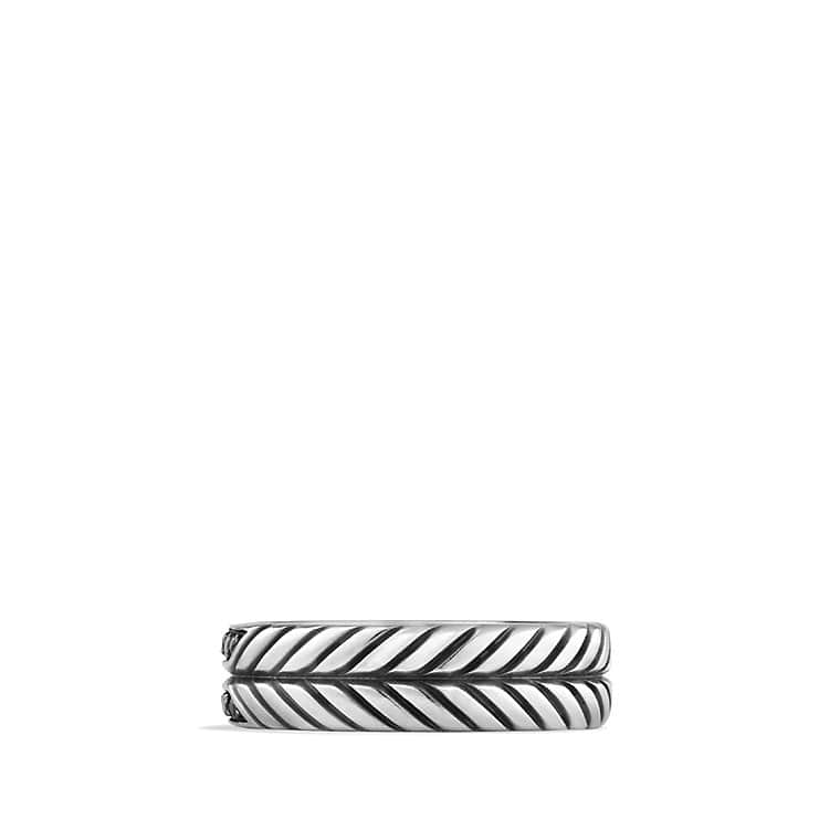 Modern Chevron Band Ring with Black Diamonds
