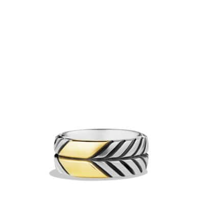 Modern Chevron Band Ring in Sterling Silver with 18k Gold, 9mm