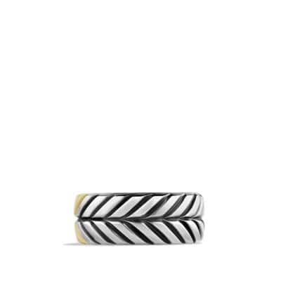 Modern Chevron Band Ring with 18K Gold, 9mm
