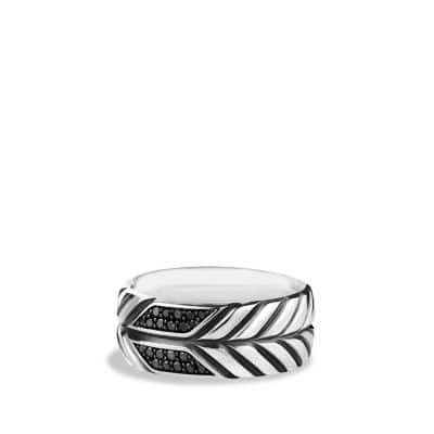 Modern Chevron Band Ring with Black Diamonds, 9mm