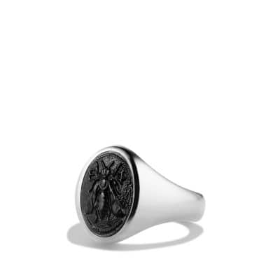 Petrvs Bee Signet Ring with Black Onyx