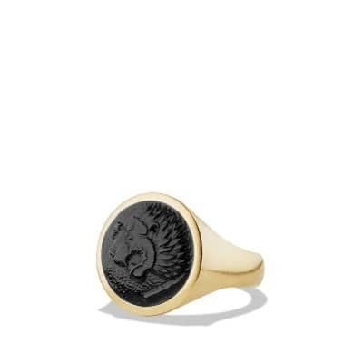 Petrvs Lion Signet Ring with Black Onyx in 18K Gold