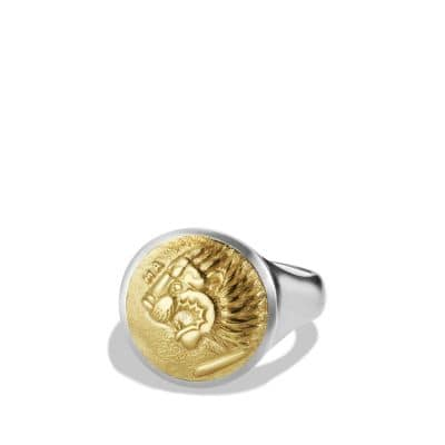 Petrvs Lion Signet Ring with Gold