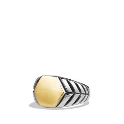 Modern Chevron Signet Ring with Gold