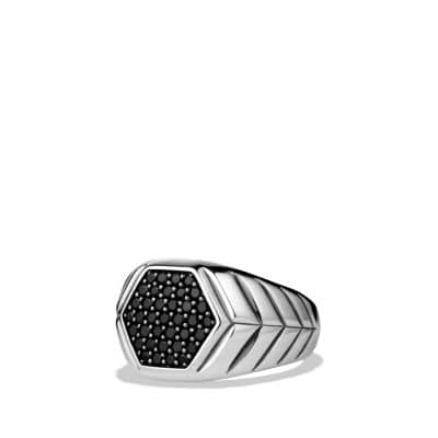 Modern Chevron Signet Ring with Black Diamonds