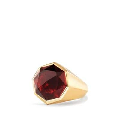 DY Fortune Faceted Signet Ring with Garnet in 18K Gold