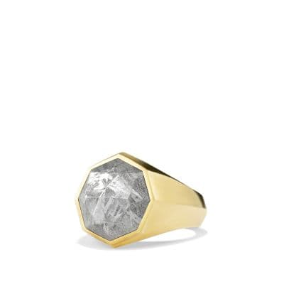 Dy Fortune Faceted Signet Ring In 18k Gold