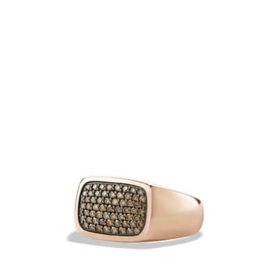 Pave Signet Ring with Cognac Diamonds in 18K Rose Gold