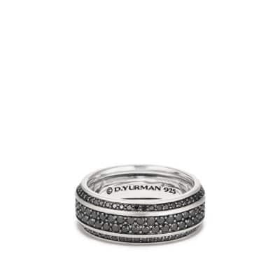 Streamline Beveled Edge Band Ring with Black Diamonds, 8.5mm
