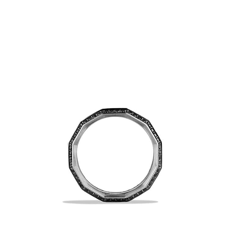 Faceted Metal Band Ring with Black Diamonds, 10mm
