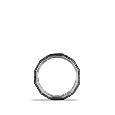 Band Ring with Black Diamonds