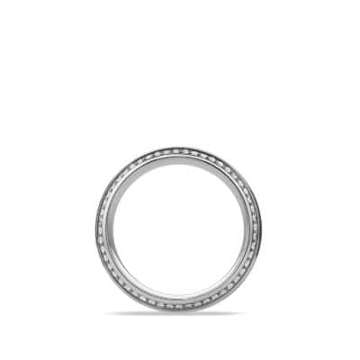 Knife Edge Band Ring with Diamonds in Platinum, 10mm