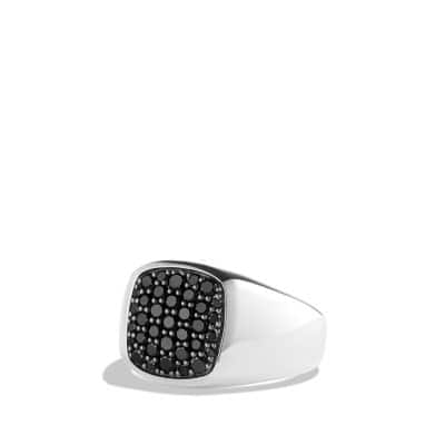 Exotic Stone Signet Ring with Black Diamonds