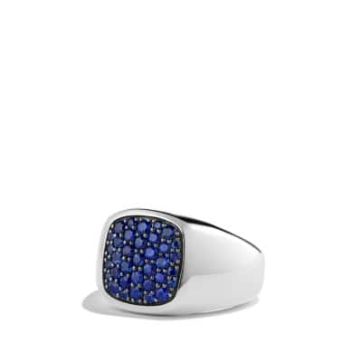 Pave Signet Ring with Blue Sapphire in Silver, 12mm