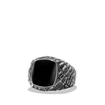 Naturals Gator Signet Ring with Black Jade