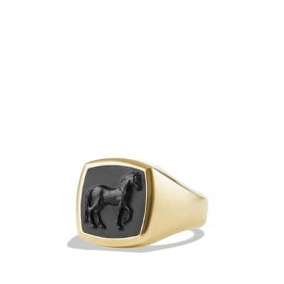 Petrvs Horse Pinky Ring with Black Onyx in 18K Gold