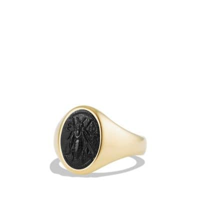 Petrvs Bee Signet Pinky Ring wth Black Onyx in 18K Gold