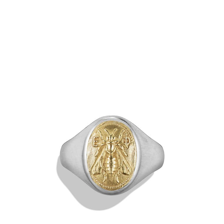 Petrvs Bee Signet Pinky Ring with 18K Gold