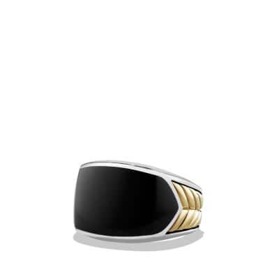 Chevron Signet Ring with Black Onyx and 18K Gold