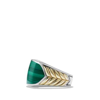 Chevron Signet Ring with Malachite and 18K Gold