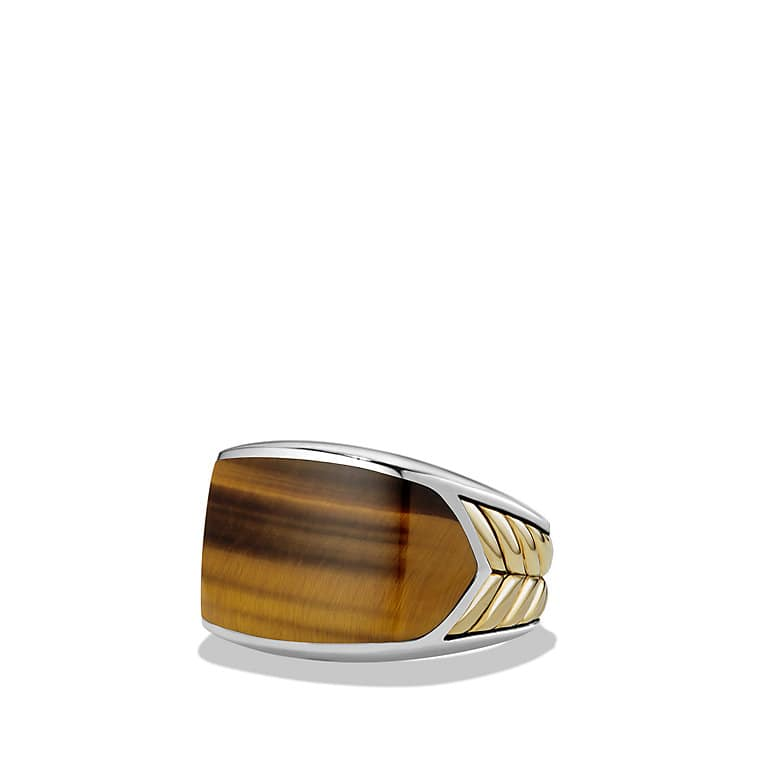 chevron signet ring with 18k gold