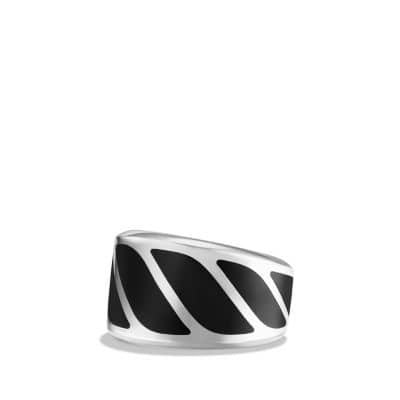 Graphic Cable Band Ring with Black Onyx