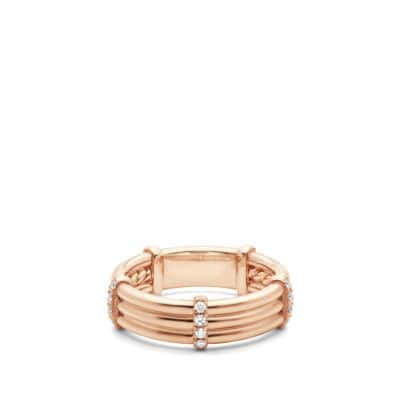 DY Astor Wrap Band Ring with Diamonds in 18K Rose Gold, 6mm