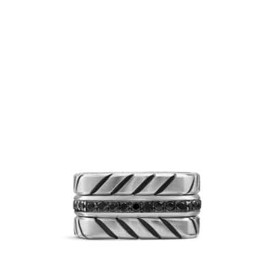 Chevron Stack Ring with Black Diamonds