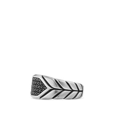 Chevron Signet Ring with Black Diamonds